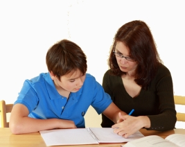 mother and son education at home